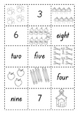 Numbers 1 to 10 matching picture, numeral and word