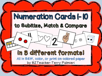 Numbers 1 to 10 to Subitize, Match & Compare - CC Aligned - PRINT & GO!
