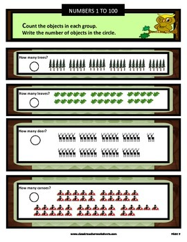 Numbers 1 to 100-Count Objects in each Group- Grades 1 and 2 (1st and 2nd Grade)
