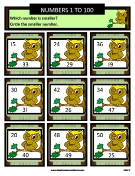 Numbers 1 to 100 -Determine Which Number Is Smaller - Grades 1-3 (1st-3rd Grade)
