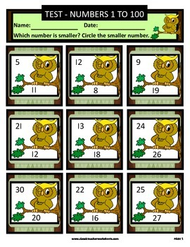 Numbers 1 to 100 -Determine Which Number Is Smaller - Grades 1-2 (1st-2nd Grade)