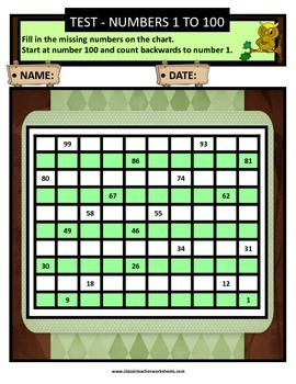 Numbers 1 to 100 - Missing Numbers-Count Backward -Grades 2-3 (2nd-3rd Grade)
