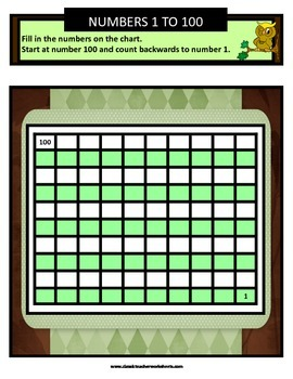 Numbers 1 to 100 - Missing Numbers-Count Backward -Grades 1-2 (1st-2nd Grade)