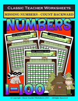 Numbers 1 to 100 - Missing Numbers-Count Backward -Grades