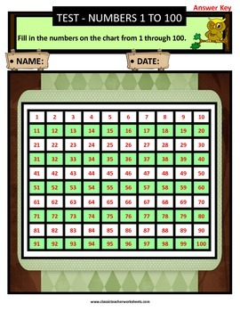Numbers 1 to 100 - Missing Numbers - Count Forward-Grades 2-3 (2nd-3rd Grade)
