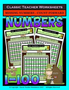 Numbers 1 to 100 - Missing Numbers - Count Forward-Grades