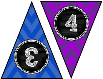 Numbers 1 to 100 Primary Chevron and Chalkboard Banners for Classroom Walls