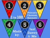 Numbers 1 to 100 Primary Chevron and Chalkboard Banners fo