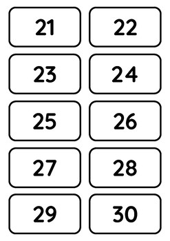 Numbers 1 to 100 Printable Black and White