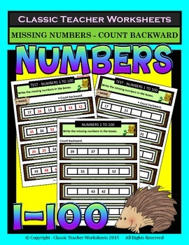 Numbers 1 to 100-Write Missing Numbers-Count Backward-Grad