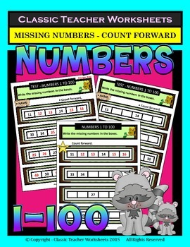 Numbers 1 to 100-Write Missing Numbers-Count Forward-Grade