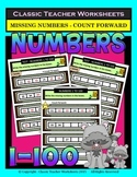 Numbers 1 to 100-Write Missing Numbers-Count Forward-Grades 1-2 (1st-2nd Grade)