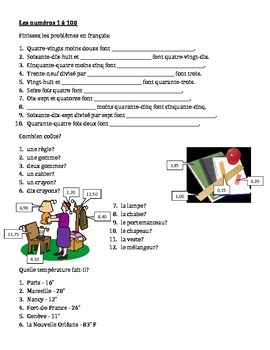 Numéros (Numbers in French) 1 to 100 worksheet