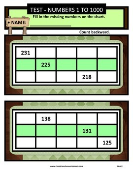 Numbers 1 to 1000-Missing Numbers-Count Backward-Grades 3-4 (3rd-4th Grade)