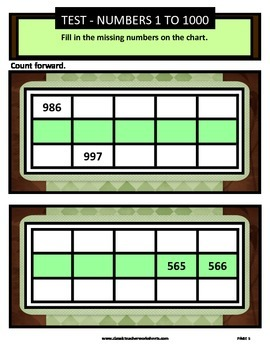 Numbers 1 to 1000-Missing Numbers-Count Forward-Grades 3-4 (3rd-4th Grade)