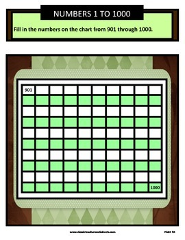 Numbers 1 to 1000-Missing Numbers-Count Forward 1 to 1000-Gr. 3-6 (3rd-6th Gr.)