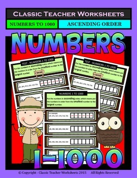 Numbers 1 to 1000-Put the Numbers in Ascending Order-Grades 4-6 (4th-6th Grade)