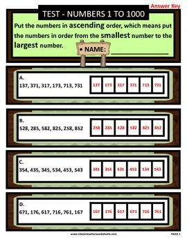 Numbers 1 to 1000-Put the Numbers in Ascending Order-Grades 3-4 (3rd-4th Grade)