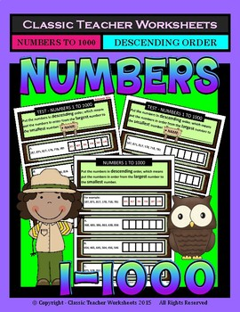 Numbers 1 to 1000-Put the Numbers in Descending Order-Grades 3-4 (3rd-4th Grade)