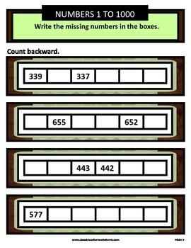 Numbers 1 to 1000-Write the Missing Numbers-Count Backward-Gr. 3-4 (3rd-4th Gr.)