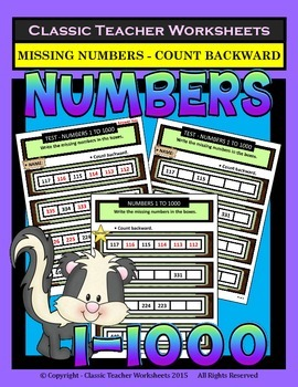 Numbers 1 to 1000-Write the Missing Numbers-Count Backward