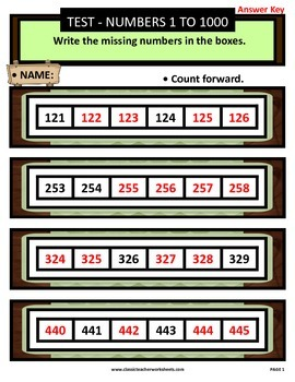 Numbers 1 to 1000-Write the Missing Numbers-Count Forward-Gr. 3-4 (3rd-4th Gr.)