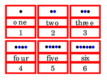 Numbers 1 to 12 Dots Number Word Cut Out Puzzle Game Match