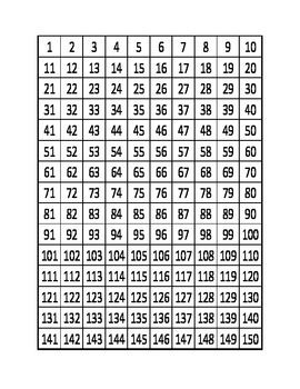 Numbers 1 to 150 Counting Kindergarten Math