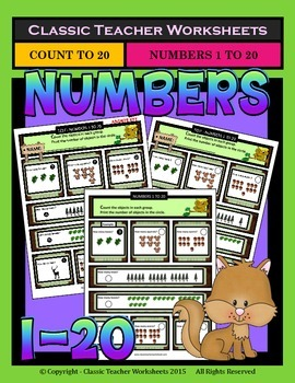 Numbers 1 to 20-Count Number of Objects in each Group-Grades 1-2 (1st-2nd Grade)