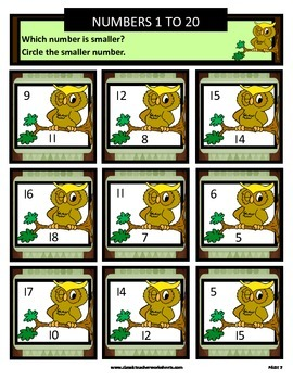 Numbers 1 to 20 - Determine Which Number Is Smaller - Grades 1-2 (1st-2nd Grade)