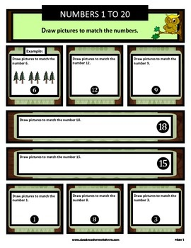Numbers 1 to 20 - Draw Pictures to Match the Numbers -Grades 1-2 (1st-2nd Grade)