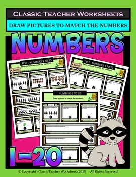 Numbers 1 to 20 - Draw Pictures to Match the Numbers -Grad