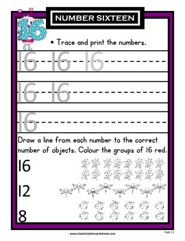 Numbers 1 to 20 -Learning Numbers from 11 to 20-Kindergarten-Grade 1 (1st Grade)