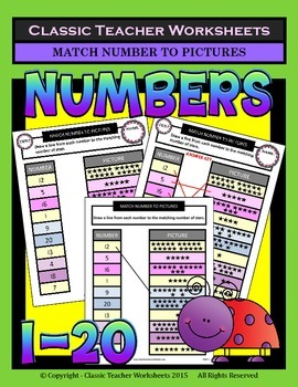 Numbers 1 to 20 - Match Numbers to Pictures - Kindergarten-Grade 1 (1st Grade)