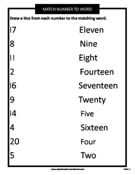 Numbers 1 to 20 - Match Numbers to Number Names-Kindergarten-Grade 1 (1st Grade)