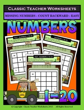 Numbers 1 to 20-Missing Numbers-Count Backward-Grades 1-2