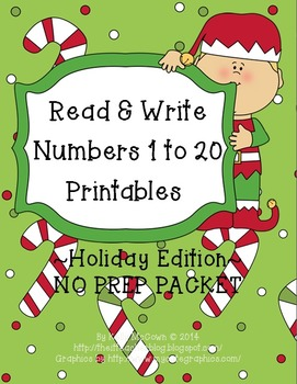 Numbers 1 to 20 NO PREP Printables Holiday BUNDLE