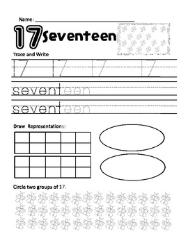 Numbers 1 to 20 Practice Pages (trace, write, draw, choose, & circle)