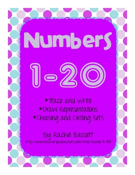 Numbers 1 to 20 Practice Pages (trace, write, draw, choose