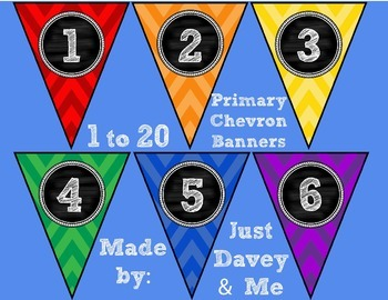 Numbers 1 to 20 Primary Chevron and Chalkboard Banners for Classroom Walls