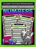 Numbers 1 to 20-Write Missing Numbers-Count Backward-Grades 1-2 (1st-2nd Grade)
