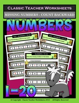 Numbers 1 to 20-Write Missing Numbers-Count Backward-Grade