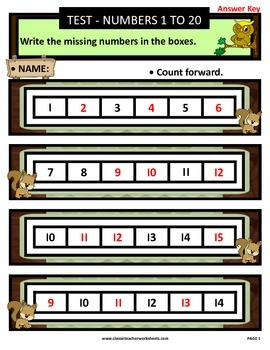 Numbers 1 to 20-Write Missing Numbers-Count Forward-Grades 1-2 (1st-2nd Grade)