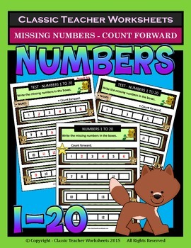 Numbers 1 to 20-Write Missing Numbers-Count Forward-Grades