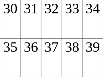 Numbers 1 to 49 number card templates