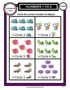 Numbers 1 to 5-Circle Correct Number of Objects - Kindergarten Grade 1/1st Grade