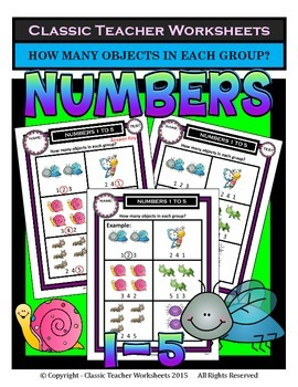 Numbers 1 to 5-How Many Objects in Each Group? Kindergarten Grade 1/1st Grade