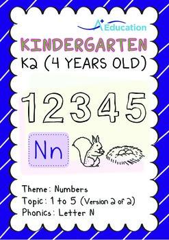 Numbers - 1 to 5 (II): Letter N - K2 (4 years old), Kindergarten