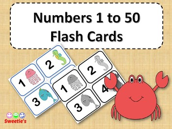 Numbers 1 to 50 Flash Cards - Ocean / Under the Sea Theme