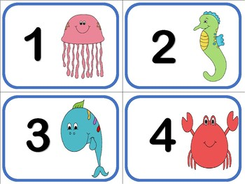 Numbers 1 To 50 Flash Cards Ocean Under The Sea Theme